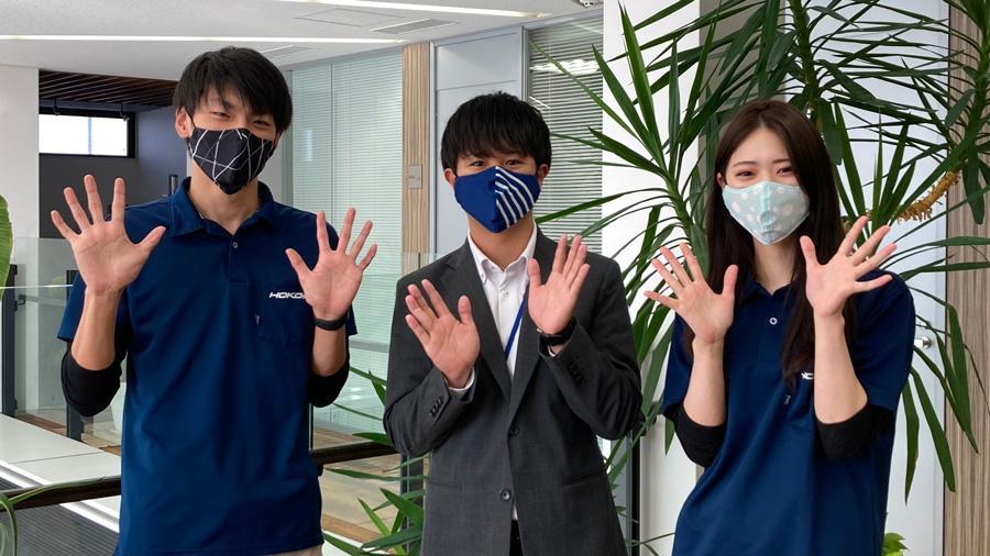 マスク着用の社員